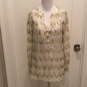 Lilly Pulitzer silk and metallic Elsa blouse